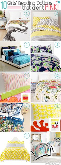 Ten Girls Bedding Options that Aren't Pink via MakelyHome.com