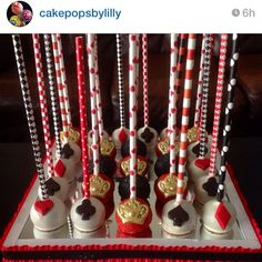Paper straws can really enhance your cake pop designs! This is the Queen of Hearts Mix at CakePopStandCo.com.