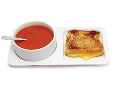 Soup and Sandwich Ceramic Tray Duo - A ceramic tray and nesting bowl perfectly sized for a grilled cheese sandwich and a bowl of soup.