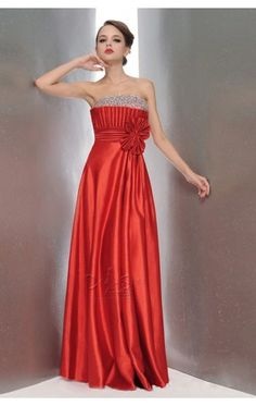 Elegant A-line Floor-length Strapless Orange Elastic Woven Satin Dress