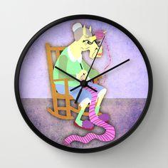 Yarn Holder Unicorn Wall Clock