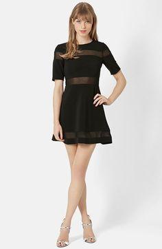Topshop+Sheer+Stripe+Skater+Dress+available+at+#Nordstrom