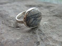 Beach Stone Pebble Ring Sterling Silver Size 8 1/4 by johnnylopov, $35.00