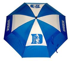 "NCAA Duke University Team Golf Umbrella by Team Golf. $25.00. Keep dry while showing off your school spirit with this officially licensed NCAA® team umbrella from Team Golf. The 62"" umbrella boasts a double canopy design and an auto-open mechanism. The team logo boldly adorns the umbrella and the included sheath."