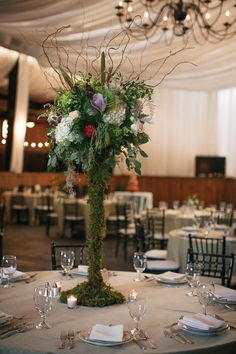 Moss Covered Candelabra - Whimsical Centerpiece Ideas - Blest Photography - NC Wedding Planner - Orangerie Events