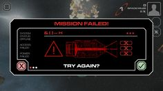 Red dwarf XI mobile game mission fail screen
