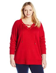 68f1e873d0 Calvin Klein Women s Plus-Size Lace Up V-Neck Sweater