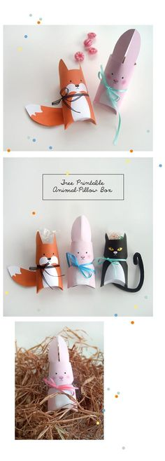 Klorollentiere inkl. pdf-Download / Animal pillow boxes made of toilet paper rolls incl. free printables / Upcycling