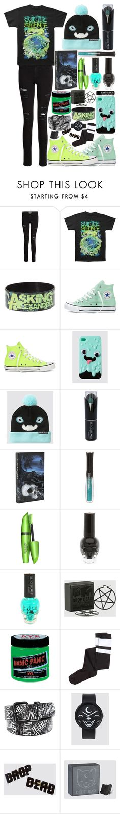 """""""Bands & Drop Dead Clothing"""" by ofmiceandvampiraydg ❤ liked on Polyvore featuring Frame, Converse, COVERGIRL, Manic Panic NYC and H&M"""