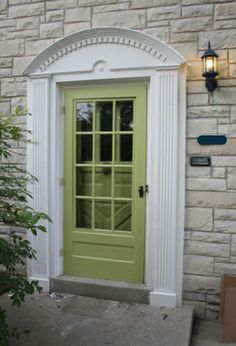 I want a green door or yellow door leading into the florida room from the patio, Florida Room, Yellow Doors, Painted Doors, House Front, Painted Front Doors, House Exterior, House Doors, Exterior Doors, Front Door Porch