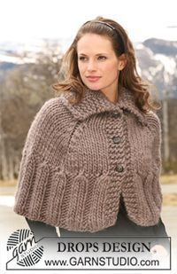 "DROPS 116-19 - Short DROPS poncho in ""Polaris"" with buttons at front, large collar and rib. Size S – XXXL. - Free pattern by DROPS Design"