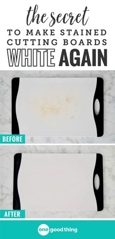 Sometimes those white plastic cutting boards won't get quite as clean as you'd like them to be. Check out this simple process that will lift those stubborn stains out for good! You won't believe how easy it is.