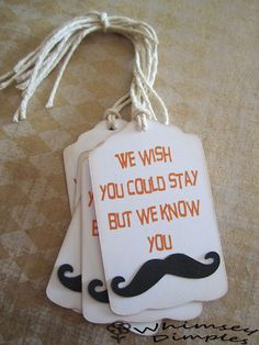 Mustache Party Favor Tag Gift Punny Parting Gift by WhimseyDimples, $3.25