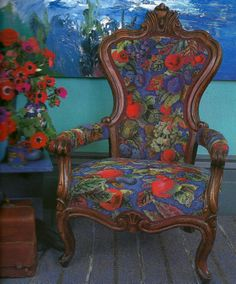 I loved this needlepoint chair at the Kaffe Fassett exhibition.