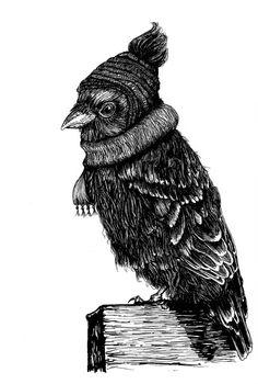 Winter Bird, Rotring Rapidograph auf 250 g/qm Bristol Drawing Board, A4
