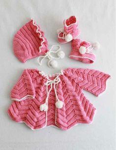 Ripple Layette Crochet Pattern http://www.maggiescrochet.com/products/ripple-layette-crochet-pattern #baby #crochet #layette
