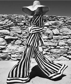 Slouchy striped suit & floppy hat - black & white fashion photography // Ann Demeulemeester