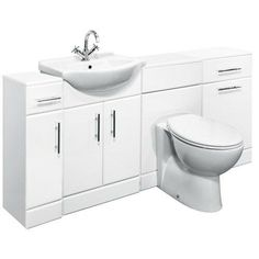 Sienna Milo High Gloss White Vanity Unit Cloakroom Suite x White Vanity Unit, Vanity Units, Tuscan Bathroom, Bathroom Basin, Fitted Bathroom Furniture, Furniture Vanity, Bathroom Remodel Cost, Bathroom Remodeling, Remodeling Ideas