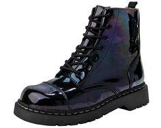 Iridescent Black Vegan Combat Boots | T.U.K. Shoes