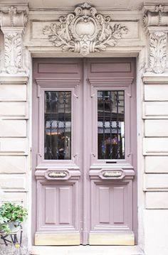 Lovely Clusters - Beautiful Shops: Paris Photography - Mauve Door on Rue Condorcet