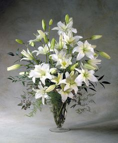 Vase os white lilys Great for foyer living room formal or sympathy Flower Factor Alter Flowers, Church Flowers, Beautiful Flowers, White Flowers, Church Flower Arrangements, Beautiful Flower Arrangements, Floral Arrangements, Sympathy Flowers, White Lilies