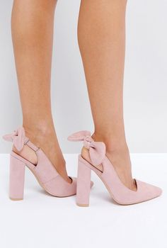 Cute bow heels with chunky heels