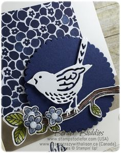 Border Buddies Saturday using Stampin Up Best Birds Stamp Set and Birds