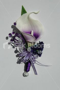 Beautiful Purple Centred White Picasso Lily Wedding Corsage