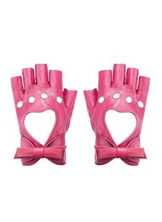 pink fingerless heart and bow gloves, Alannah Hill Pink Leather, Real Leather, Nora Valkyrie, Team Jnpr, Looks Kawaii, Armas Ninja, Red Like Roses, Pink Gloves, The Villain