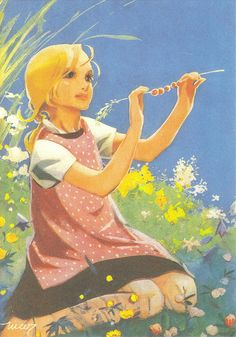 A young girl enjoys the warm sunshine of a summer's day during her school vacation Children's Book Illustration, Graphic Design Illustration, Pretty Drawings, Art Drawings, Fairytale Art, Colorful Paintings, Vintage Pictures, Christmas Art, Vintage Postcards