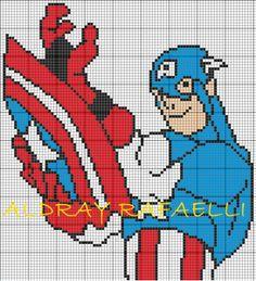 Captain America x-stitch Marvel Cross Stitch, Geek Cross Stitch, Cross Stitch For Kids, Cross Stitch Charts, Cross Stitch Patterns, Stitching Patterns, Marvel Avengers, Cross Stitching, Cross Stitch Embroidery