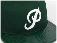 Classic P Leather Brim Green 59Fifty Fitted Baseball Cap by PRIMITIVE x NEW ERA