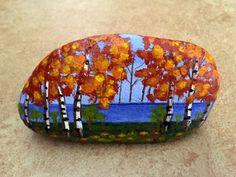 Fall Landscape Painted Rock, Lake Painted Rock, Stone Art, Home Decor, Autumn, Christmas Gift, Gift Idea, MelidasArt
