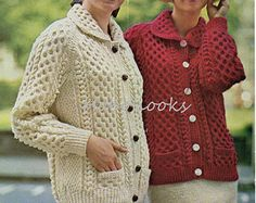 womens aran cardigan knitting pattern aran jacket with collar 34-40 inch ladies aran pattern womens Knitting Pattern PDF instant download