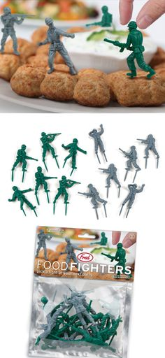 Food Fighters Party Food Picks - just silly & cute to me - I've got nephews who I think would love them :) Army Birthday Parties, Army's Birthday, Toy Story Birthday, Military Party, Army Party, Festa Toy Story, Toy Story Party, Soldier Party, Man Party