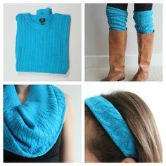 1 sweater= headband, cowl and boot cuffs