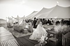 Brides.com Featured Wedding: Nantucket Wedding at Galley Beach with Christian Oth, Soiree Floral and Nantucket Island Events. #soireefloral www.soireefloral.com #nantucket #wedding