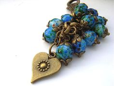 Blue bead heart bag charm by Blue Forest Jewellery, via Flickr