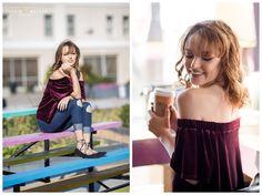 Coffeeshop Senior Portraits | Personality Senior Headshot Inspiration | Downtown Norfolk NEON Senior Portraits
