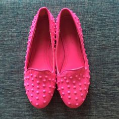 Hot Pink Loafers Hot Pink Loafers Size 6. These are brand new, never been worn! Ordered them online and I purchased the wrong size. They are so CUTE and perfect for adding a pop of color to any outfit! Let me know if you have any questions. Happy Shopping!  Shoe Dazzle Shoes Flats & Loafers