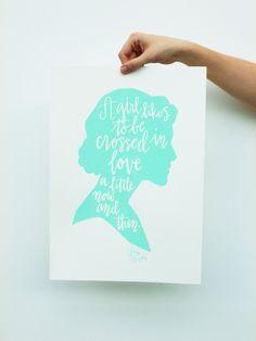 Jane Austen Quote Cameo Calligraphy Screen Print. $30.00, via Etsy.