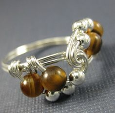 Tiger's Eye and Sterling Silver Wire Wrapped Vortex by holmescraft, $24.00