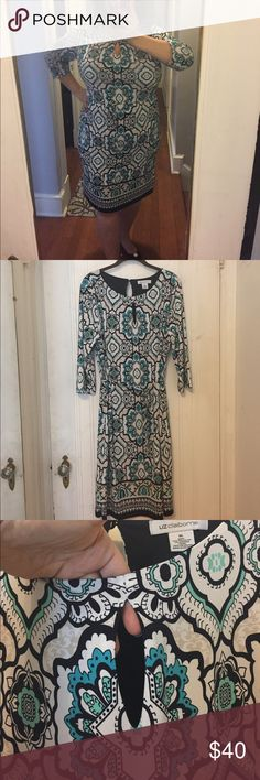 Turquoise, Black & White Liz Claiborne Dress NWOT Easy throw on styling with a matching tie belt. Keyhole neckline and back with button neck closure. Beautiful medallion pattern really pops. The dress is also lined. It has never been worn but I have removed the tags. Liz Claiborne Dresses