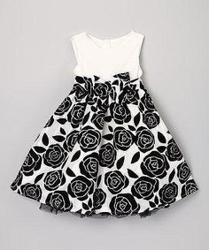Take a look at this White & Black Rose Dress - Toddler & Girls on zulily today! Schauen Sie sich dieses White & Black Rose Dress - Toddler & Girls noch heute bei zulily an! Little Girl Outfits, Little Girl Fashion, Toddler Girl Dresses, Little Girl Dresses, Toddler Fashion, Toddler Outfits, Fashion Kids, Kids Outfits, Girls Dresses