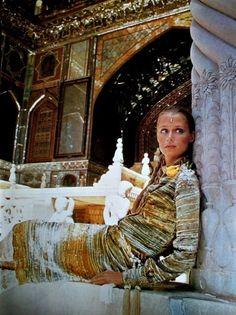 Lauren Hutton photographed by Henry Clarke in the Golestan Palace Teheran, dress Thea Porter: