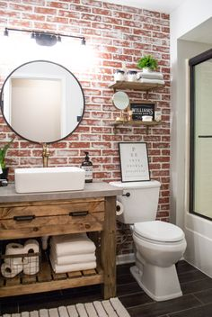 DIY Faux Brick Wall Accent brick bathroom wall Achieve this loo… – Home Decor On a Budget Bathroom Brick Bathroom, Bathroom Wall Decor, Bathroom Renos, Accent Wall In Bathroom, Master Bathroom, Small Bathroom, Bathroom Cabinets, Bathroom Wall Ideas, Wooden Bathroom Vanity