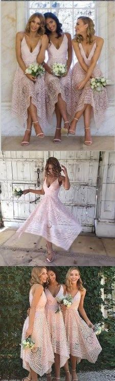 Custom Cheap Short Pink Red Blue Pink Red Bridesmaid Dresses, Full Lace Newest Bridesmaid Dress,PD0671