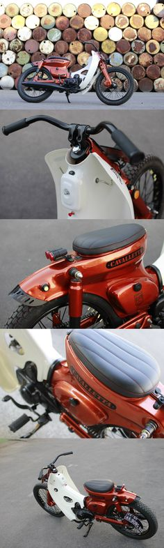 """Cavalletta"" custom Honda Cub by Jezel Custom Cub Honda Cub, Motorcycle Art, Motorcycle Design, Motorcycle Types, Cb 500, Moped Scooter, Cafe Racing, Cafe Racer Bikes, Cool Motorcycles"