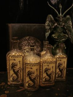 Antique Bottles of Wormwood, priced each at Gothic Rose Antiques http://www.gothicroseantiques.com/AntiqueBottlesofWormwoodpricedeach.html