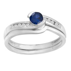 Elora 14k Gold Blue Sapphire and 1/3ct TDW White Diamond Bridal Set (H-I, I1-I2) (White Gold - Size 6.5), Women's